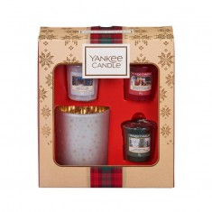 3 Votives And Glass Candle Holder - Yankee Candle Christmas Gift Set 2019 Candlemania