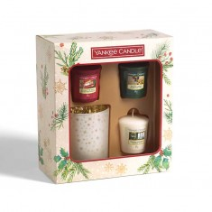 3 Votives And Glass Candle Holder - Yankee Candle Christmas Gift Set 2020 Candlemania angle