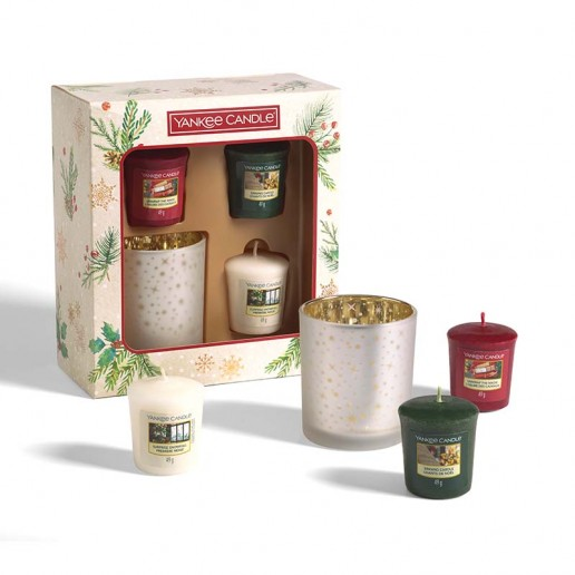 3 Votives And Glass Candle Holder - Yankee Candle Christmas Gift Set 2020 Candlemania outofbox