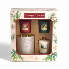 3 Votives And Glass Candle Holder - Yankee Candle Christmas Gift Set 2020 Candlemania