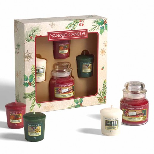 3 Votives And Small Jar - Yankee Candle Christmas Gift Set 2020 Candlemania outofbox