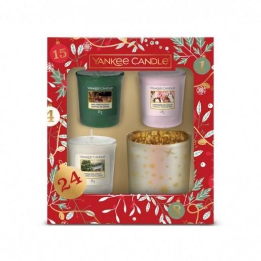 3 Votives & Candle Holder - Yankee Candle Christmas Gift Set