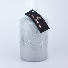 Amelia Grey Small Pillar Candle wrapped