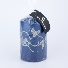 Amelia Navy Small Pillar Candle wrapped