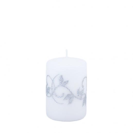 Amelia White Small Pillar Candle