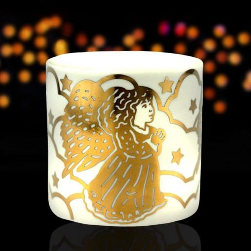 Angel - Porcelain Tea Light Candle Holder Gold