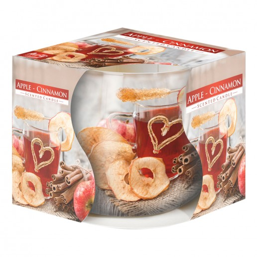 Apple & Cinnamon - Scented Candle in Glass Best Smelling Cheap