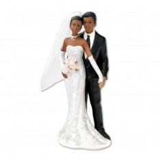 Black Bride & Groom Standing Decoration - Cake Topper