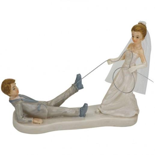 Bride Dragging Groom Funny Cake Topper