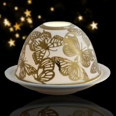Butterflies - Glowing Dome Porcelain Tea Light Holder