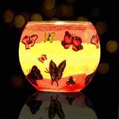 Butterflies - Glowing Globe Glass Tea Light Candle Holder lit.jpg