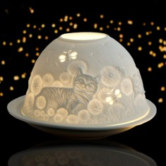 Cat In Dandelions - Glowing Dome Porcelain Tea Light Holder