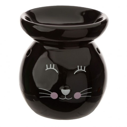 Cat Face Oil Burner Black