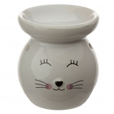 Cat  Face Oil Burner White