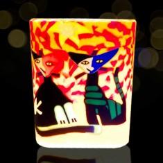 Cats - Glowing Votive Glass Tea Light Candle Holder lit