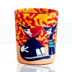 Cats - Glowing Votive Glass Tea Light Candle Holder