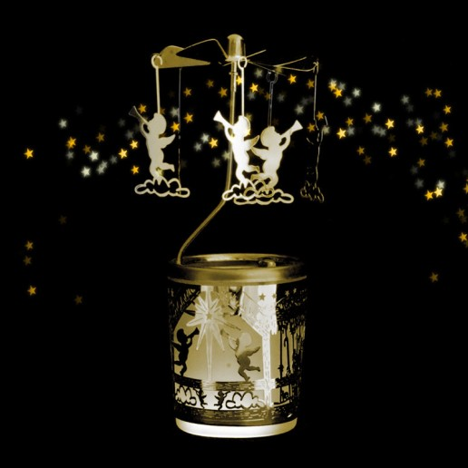 Cherub Gold - Spinning Tea Light Candle Holder