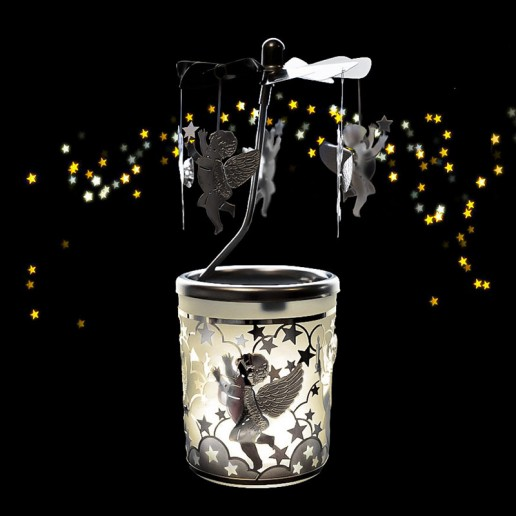Cherub Silver - Spinning Tea Light Candle Holder
