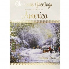 Christmas Greetings Across The Miles To America - Single Christmas Card with Envelope