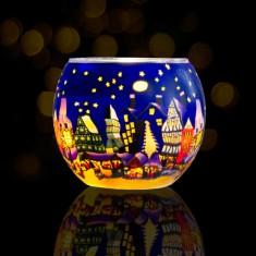 Christmas Market - Glowing Globe Glass Tea Light Candle Holder lit
