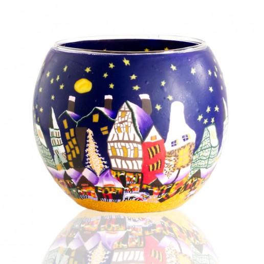 Christmas Market - Glowing Globe Glass Tea Light Candle Holder