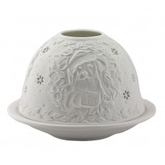 Christmas Puppy -  Glowing Dome Porcelain Tea Light Holder back