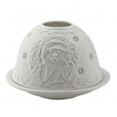 Christmas Puppy -  Glowing Dome Porcelain Tea Light Holder front