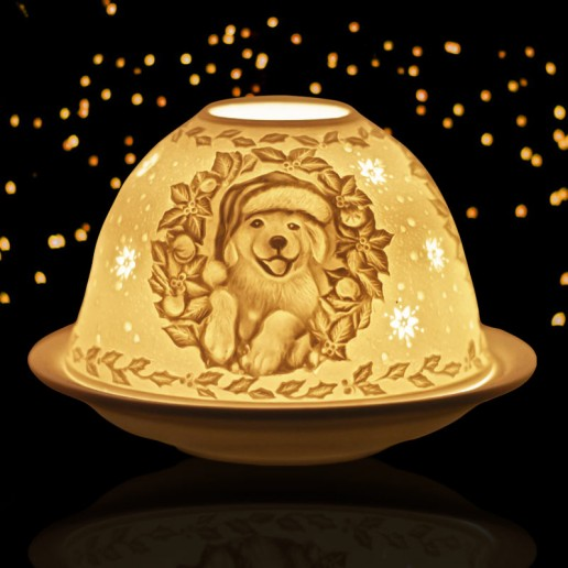 Christmas Puppy -  Glowing Dome Porcelain Tea Light Holder