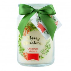 Christmas Wreath Scented Candle in Large Jar