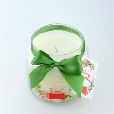 Christmas Wreath Scented Candle in Medium Jar angle