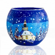 Church Blue Sky - Glowing Globe Glass Tea Light Candle Holder