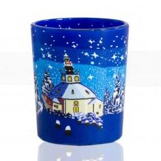 Church Blue Sky - Glowing Votive Glass Tea Light Candle Holder