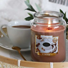 Coffee Scented  Candle in Glass Jar Large lifestyle
