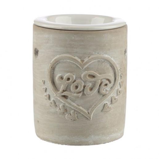 Concrete and Ceramic Oil Burner - Love Heart Beige