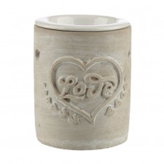 Concrete and Ceramic Oil Burner - Love Heart Beige