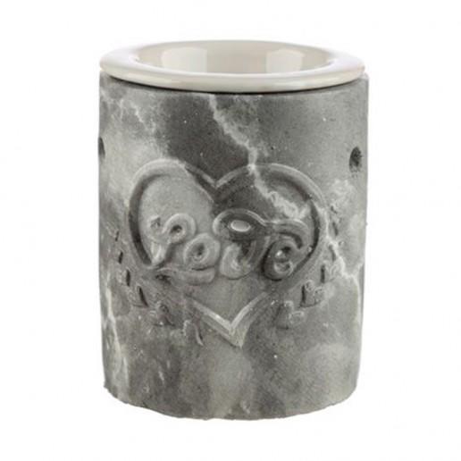 Concrete and Ceramic Oil Burner - Love Heart Grey