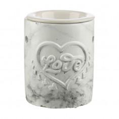 Concrete and Ceramic Oil Burner - Love Heart White