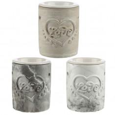 Concrete and Ceramic Oil Burner - Love Heart