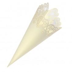 Confetti Cone Laser Heart - Ivory
