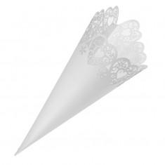 Confetti Cone Laser Heart - White