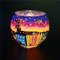 Cork City - Glowing Globe Glass Tea Light Candle Holder lit
