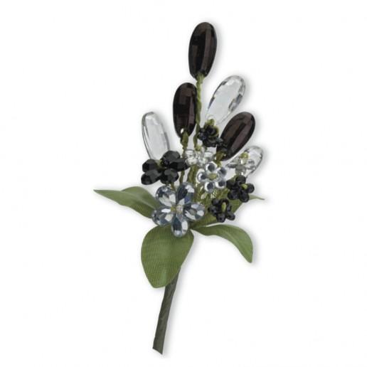 Crystal Flower Spray - Black-Clear