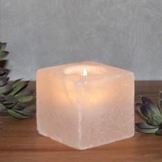Cube - White Rock Salt Tea Light Candle Holder Lifestyle