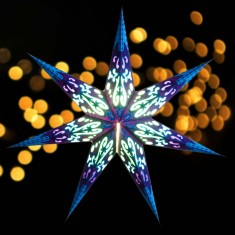 'Curves' Blue - Large Paper Star Light lit