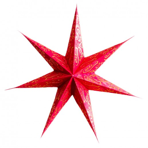 'Curves' Red - Large Paper Star Light