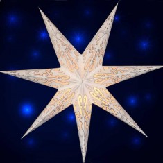 'Curves' White Glitter - Large Paper Star Light Large