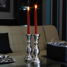 Dinner Taper Candles - Dark Red Burgundy Wine lit