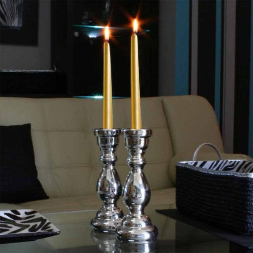Dinner Taper Candles - Gold lit