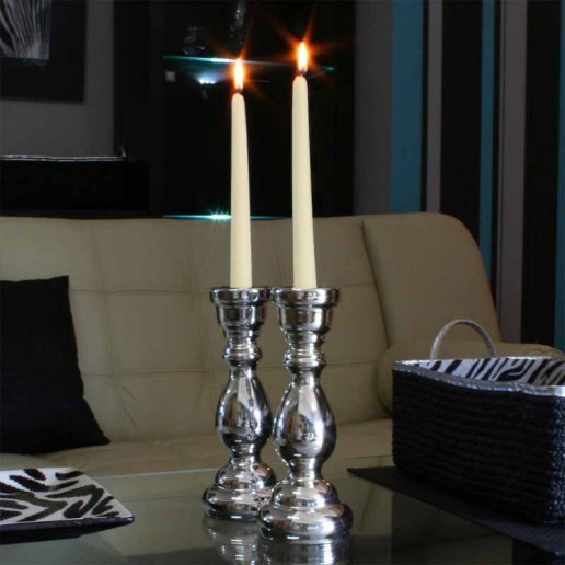 Dinner Taper Candles - Ivory lit