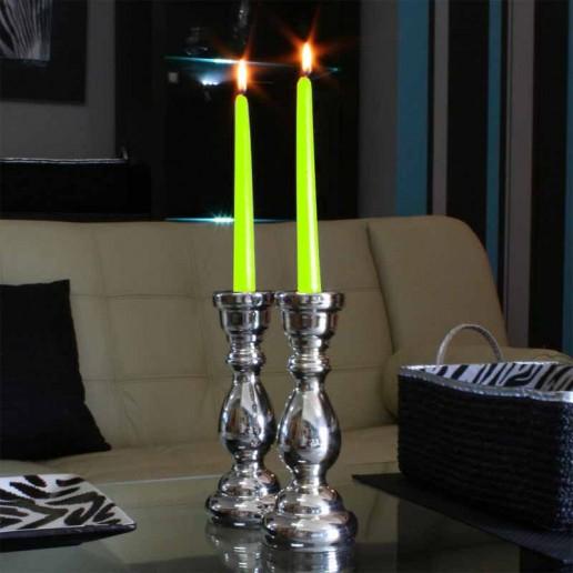 Dinner Taper Candles - Light Green lit